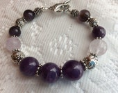 Natural Amethyst and Silver Bracelet