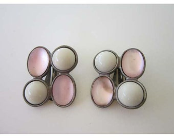 Ben Amun Mid-Century Mod Art with Soft Sheer Pink on White Cabochon Circles Silvertone Earrings