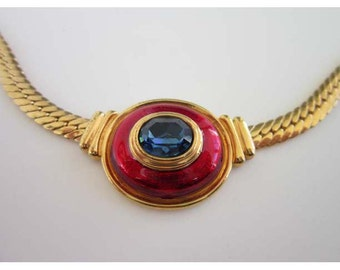 Modernist Omega chain choker necklace with Red enamel & blue rhinestone center piece