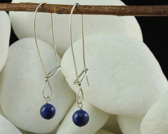 Lapis Lazuli Dangle / Hook Earrings - Solid 925 Sterling Silver - FREE Shipping
