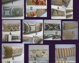 "Mini Lumbar Pillow Cover- 8""x16"" - Kravet Pillow- Lee Jofa Pillow- Floral- Modern- Ikat- Jacquard-Stripe- Upholstery"