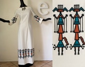 AMAZING 70s Southwestern Dress 1970s KACHINA Doll Border Print Aztec Hopi Navajo Indian Maxi Dress Hippie Festival Boho Novelty Print M L