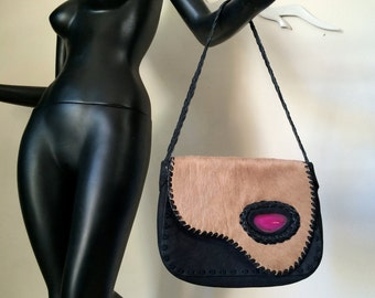 Vintage 80s 90s PONY FUR Handbag Purse Mod Pink Agate Stone Rock Black Leather Southwest Asymmetric High Quality Handmade in France by MAÏA