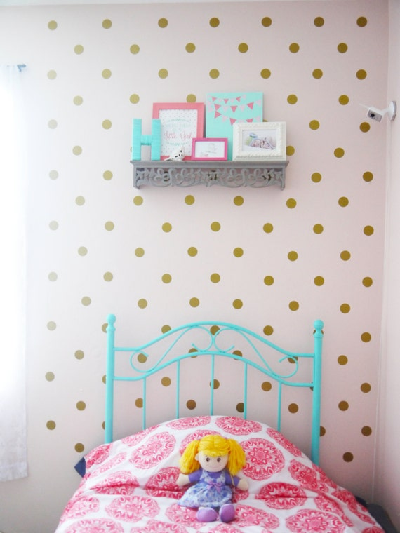 peel and stick metallic gold polka dot by polkadotwallstickers. Black Bedroom Furniture Sets. Home Design Ideas
