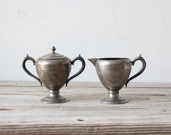 Trophy Cup Style Pewter Sugar Jar & Creamer