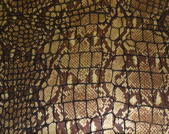 "Leather 8""x10"" Brown and Gold Metallic Python with Croc print on CHOCOLATE Cowhide 3.5 oz /1.4 mm PeggySueAlso LIMITED SUPPLY"