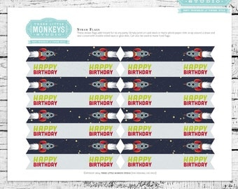 Retro Rockets & Robots Outer Space Straw Flags - INSTANT DOWNLOAD