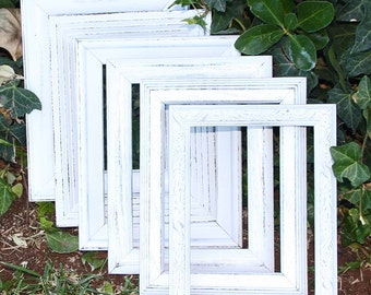 White Frames Set Of Six 5X7 Hand Painted Distressed Frames