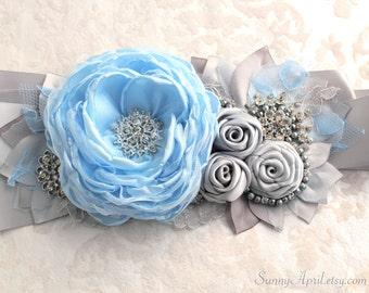 Gray Blue Flower Wedding Ribbon Sash/ Handmade Accessory