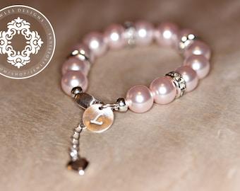 Infant Jewelry Swarovski Pink Pearl Baby Bracelet By