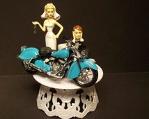 INDIAN MOTORCYCLES Teal Blue Street Bike Bride and Groom Wedding Cake Topper Awesome Funny Biker