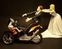 Come Back ORANGE 450 RALLY Dirt BIKE Bride and Groom Funny Motorcycle Wedding Cake Topper Groom's Cake