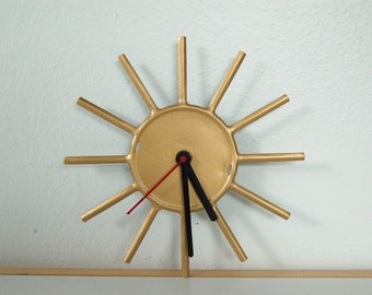 Wheel Spokes Clock - Upcycled Clock - Recycled Clock - Steampunk - Shelf or Wall Mount - Wheel Clock - Reclaimed Clock - Sun Clock - Gold