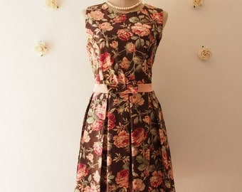 FLORAL PARTY - Sleeveless Brown floral dress floral party dress tea dress Brown prom party dress floral bridesmaid dress homecoming dress