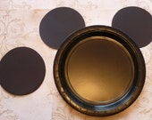 Mickey Mouse DIY Craft Birthday Plate Black Circle Shapes Die Cut pieces DIY Kids Birthday Party Cricut Circle Shapes