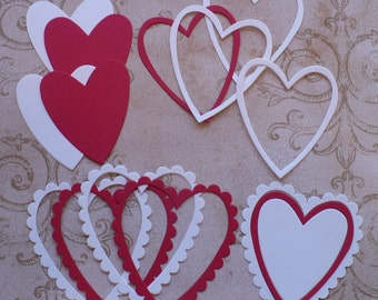 Valentines Heart Red & White Craft Scrapbook  Sizzix Frames Die Cuts Cardstock for DIY Crafts Cards Projects