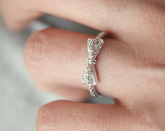 CZ White Gold Bow Ring
