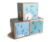 Clearance. Blow out sale. Wood blocks. Jumbo. Large. Blue. Baby. Blocks. Nursery. Unique gift. comic book style. POW
