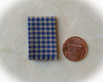 Miniature woven kitchen towel - blue gingham, 1:12 scale