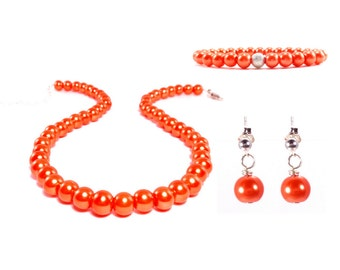 Orange Bridesmaid Jewelry, Bridesmaid Gift, Tangerine, Vintage Wedding, Orange Wedding, Glass Pearls, Pearl Gift Set, Bridesmaid Jewelry