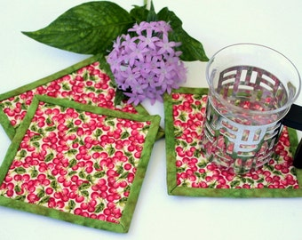 Quilted Coasters, Cherry Coasters, Pink Green Coasters, Fabric Coasters, Beverage Mat, Quiltsy Handmade