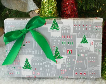 Christmas in the City Wrapping Paper, 2 Feet x 10 Feet