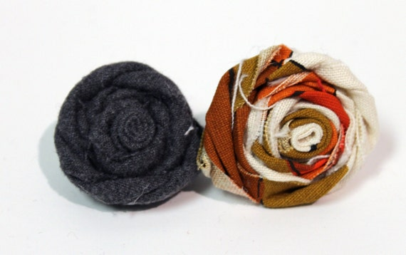 Upcycled Fabric Flower Pin SET