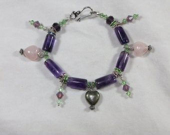Amethyst Bracelet With Rose Quartz Hearts and Pyrite Heart