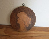Gibson Girls, Antique 1904 Flemish Pyrography Carving Picture Painting Of a Lady