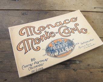 Vintage Album of Monaco Monte Carlo 20 Color Detachable Postcards, Editions D'Art Rortan & Munier