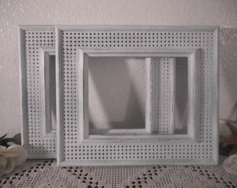 White Shabby Chic 8 x 10 Faux Wicker Up Cycled Vintage Syroco Picture Photo Frame Beach Cottage Coastal Seaside Tropical Island Home Decor