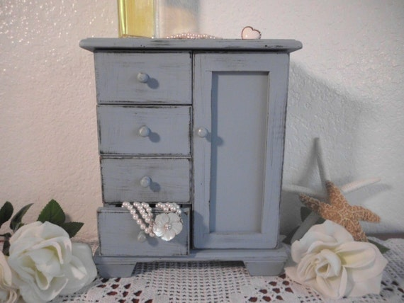 Blue Jewelry Box Beach Cottage Rustic Shabby Chic Distressed French Country Farm House Lake House Home Decor Birthday Christmas Gift For Her
