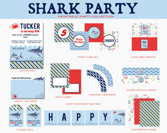 SHARK Birthday Party- Printable FULL COLLECTION - Printable Party Package (Invitation and Decorations)