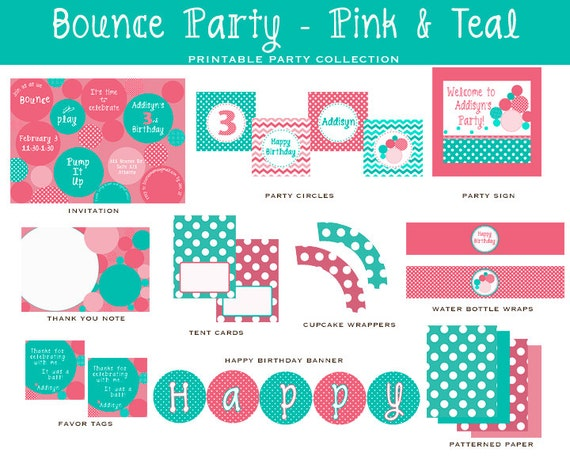 Pink & Teal BOUNCE HOUSE, Full Party Printable Package, Circles, Bouncy Balls (Bounce House Invitations and Decorations)
