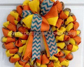 Natural Burlap Orange /Yellow Fall Wreath (New Flat Design)