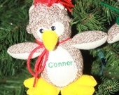 Handmade Personalized Sock Monkey Penguin Christmas Ornament