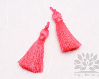T009-PK// Pink Rayon Knotted Loop Top Tassel Pendant, 4pcs, 37mm