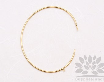 A332-02-G// Gold Plated 1.2mm Thick Simple Bangle with Loop Bracelet, 2pcs