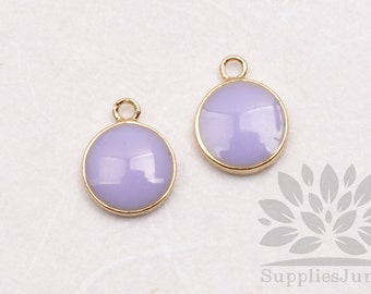 P618-01-G-LL// Gold Plated 8mm Lilac Epoxy Round Pendant, 2 pcs