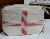 Zipper Pouch, Red and White Stripes, Vintage Feed Sack, Faded Red, Cross