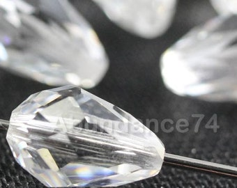 6 pcs 5500 Swarovski Elements Teardrop Crystal 10mm Faceted Loose Beads - Crystal Clear