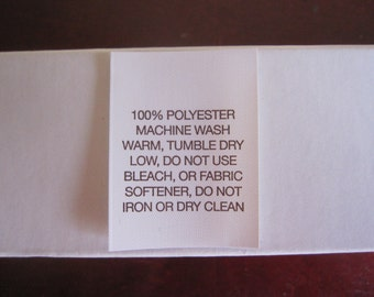 100% Polyester (Fleece) Fabric Care Label