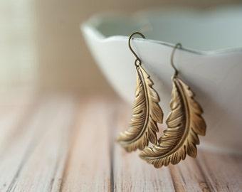 Long Feather Earrings in Aged Brass