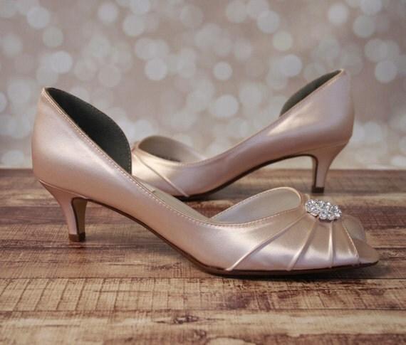 Blush Wedding Shoes Blush Pink Kitten by EllieWrenWeddingShoe