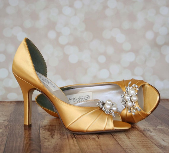 Gold Wedding Shoes Simple Peep Toe Wedding Shoes With Pearl