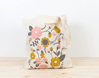 Flowers Tote bag, screen printed canvas Tote bag, organic canvas tote, perfect wedding gift, depeapa, illustration, eco tote bag