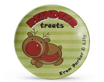 Reindeer Treats Christmas Plate, Personalized Reindeer Melamine Dish, Christmas Eve Treat Plate