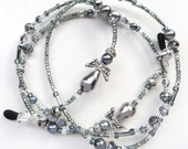 SILVER ANGELS- Beaded Eyeglass Lanyard- Sparkling Crystals, Glass Pearls, Silver Rose Beads with Silver Plated Accents