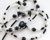 BLACK HEART- Beaded ID Lanyard Badge Holder- Lampwork Heart,  Pearls, and Crystals (Magnetic Clasp)