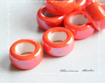 6  Handmade Pearlized Porcelain Ceramic Ring Beads, 17-20mm, Hole 10-11mm